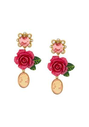 Dolce & Gabbana cameo crystal rose drop earrings - Pink