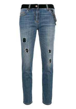 Boutique Moschino distressed cropped jeans - Blue