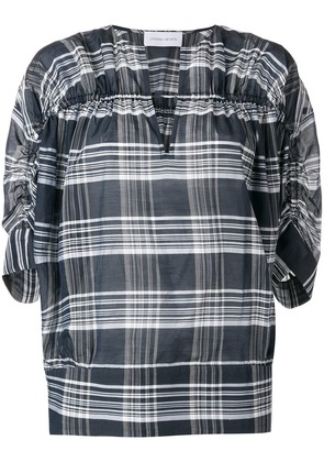 Christian Wijnants checkered ruched detailed top - Grey