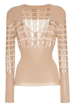 Jacquemus V neck polo cut-out sweater - Neutrals