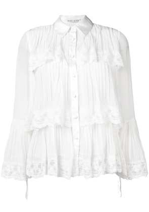 Alice+Olivia tiered lace trim shirt - White