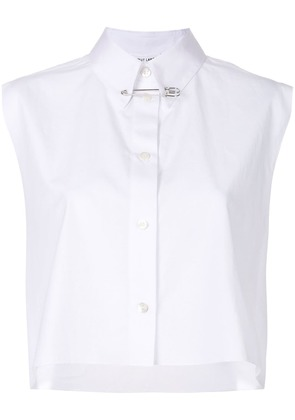 Helmut Lang short sleeved cropped shirt - White