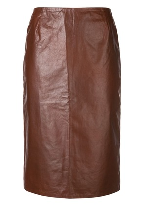 Christian Wijnants cracked effect pencil skirt - Brown