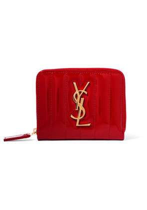 Saint Laurent - Vicky Quilted Patent-leather Wallet - Red