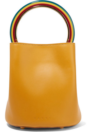 Marni - Pannier Small Leather Bucket Bag - Mustard