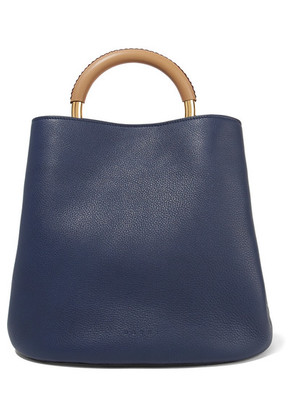 Marni - Pannier Large Textured-leather Tote - Navy