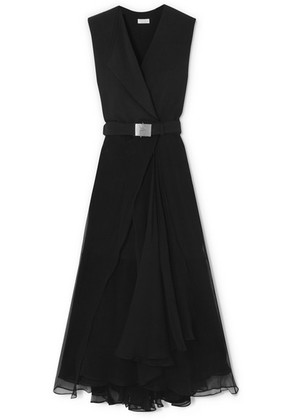 Brunello Cucinelli - Belted Crepe And Chiffon Maxi Dress - Black