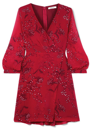 Madewell - Wrap-effect Floral-print Crepe De Chine Mini Dress - Red