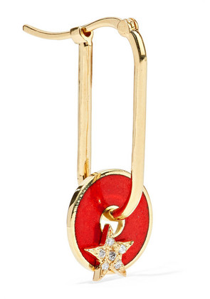 Foundrae - Star 18-karat Gold, Diamond And Enamel Earring - one size