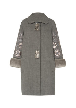 Andrew Gn Embroidered Sleeve Overcoat
