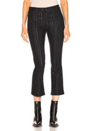 AG Adriano Goldschmied Jodi Button Crop in Black,Stripes