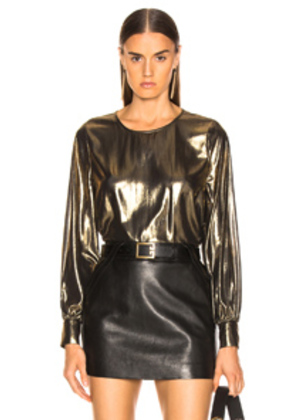 L'AGENCE Long Sleeve Popover With Buttons in Metallic