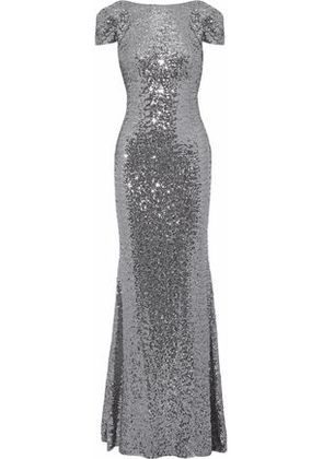 Badgley Mischka Woman Open-back Draped Sequined Tulle Gown Gray Size 8