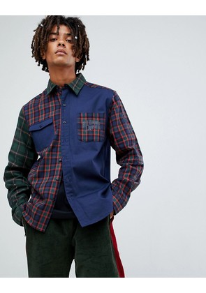Billionaire Boys Club contrast check shirt in navy - Navy