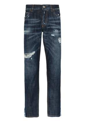 Dolce & Gabbana cropped distressed slim ticker jeans - Blue