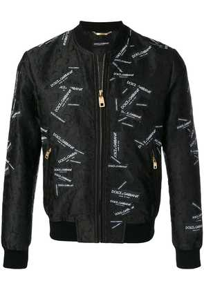 Dolce & Gabbana all over logo patches bomber jacket - Black