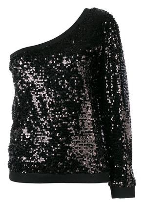 P.A.R.O.S.H. sequin one shoulder top - Black