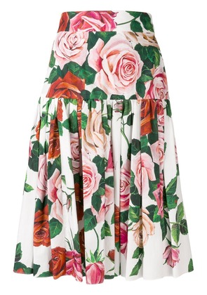Dolce & Gabbana floral print pleated skirt - White