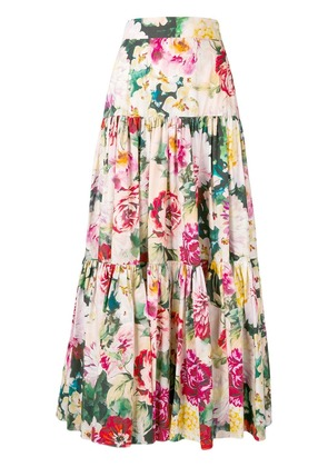 Dolce & Gabbana pleated floral print long skirt - Pink
