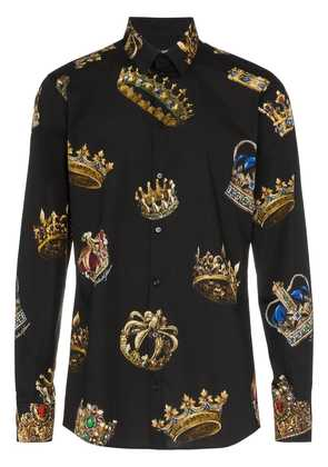 Dolce & Gabbana crown print fitted shirt - Black