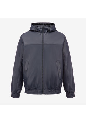 Bally Hooded Reversible Nappa Jacket Blue, Men's nappa leather jacket in navy