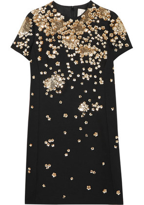 Valentino - Sequin-embellished Wool And Silk-blend Mini Dress - Black