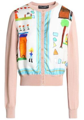 Dolce & Gabbana Woman Printed Twill-paneled Silk And Cashmere-blend Cardigan Blush Size 44