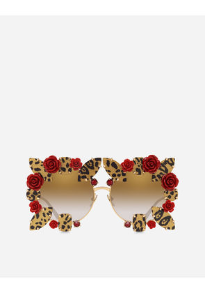 Dolce & Gabbana Sunglasses - ROUND METAL SUNGLASSES WITH PRECIOUS DETAILS SHINY GOLD, LEO GLITTER PRINT AND RED ROSES