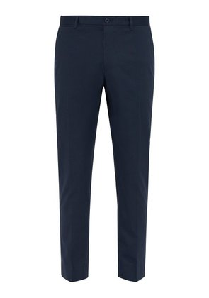 Dolce & Gabbana - Side Stripe Tailored Cotton Blend Trousers - Mens - Blue