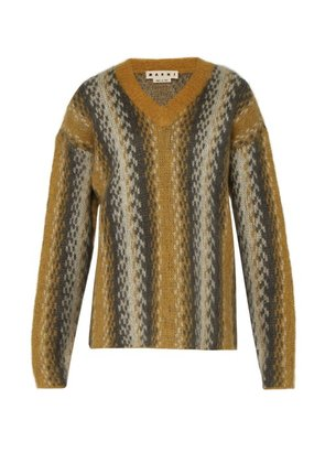 Marni - Abstract Stripe Mohair Blend Sweater - Mens - Yellow Multi