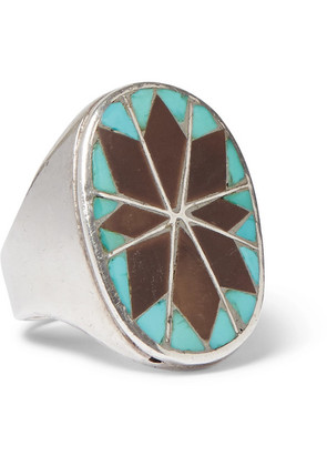 Foundwell - 1970s Stering Silver, Turquoise And Agate Ring - Silver