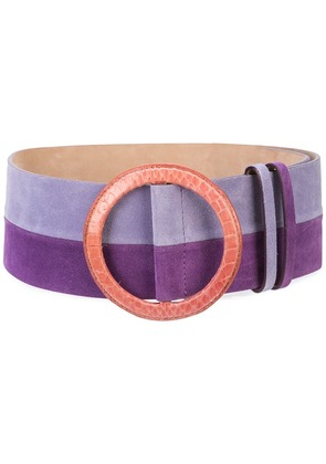 Carolina Herrera contrast-buckle striped belt - Purple