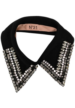 No21 crystal embellished collar - Black