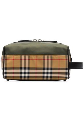 Burberry Vintage check and khaki nylon washbag - Neutrals