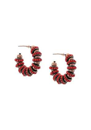 Carolina Herrera beaded hoop earring - Red