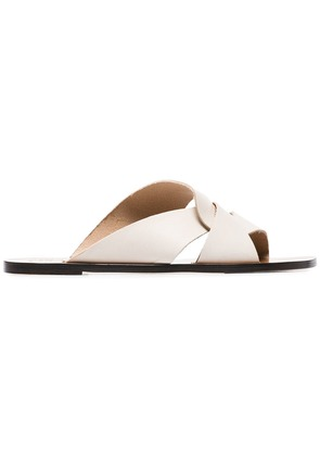 Atp Atelier white allai leather crossover strap sandals