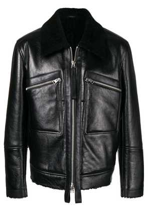 Tom Ford shearling collar leather jacket - Black
