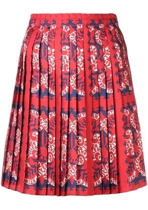 Valentino logo-print pleated skirt - Red