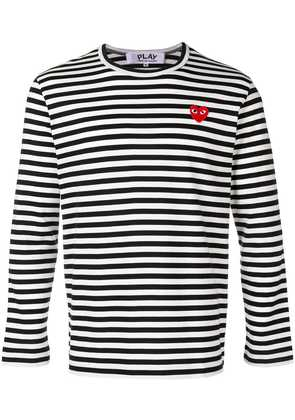 Comme Des Garçons Play striped heart logo T-shirt - Black