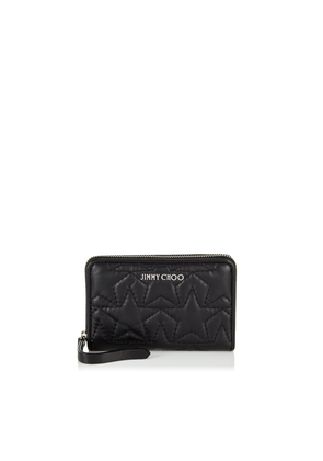 HALLEY Black and Silver Nappa Leather Zip Around Wallet