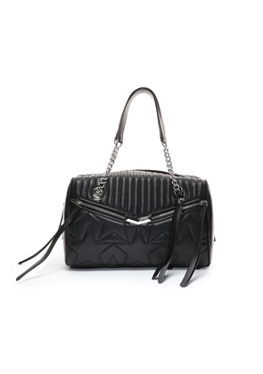 HELIA BOWLING Black and Silver Leather Bag with Star Matelassé