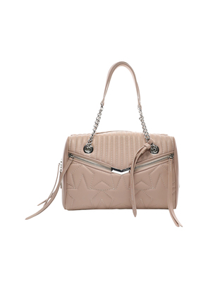 HELIA BOWLING Ballet Pink Leather Bag with Star Matelassé