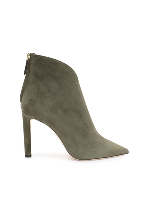 BOWIE 100 Vine Suede Pointed Toe Booties with Plexi Insert