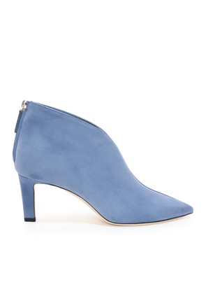 BOWIE 65 Stone Blue Suede Pointed Toe Booties with Plexi Insert