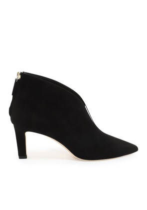 BOWIE 65 Black Suede Pointed Toe Booties with Plexi Insert