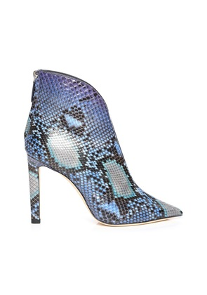 BOWIE 100 Sky Mix Dégradé Painted Python Pointed Toe Booties with Plexi Insert
