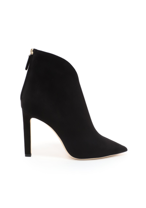 BOWIE 100 Black Suede Pointed Toe Booties with Plexi Insert