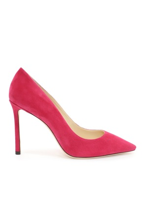 ROMY 100 Raspberry Suede Pointy Toe Pumps