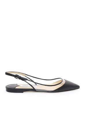 ERIN FLAT Black and Clear Nappa with Plexi Slingback Flats
