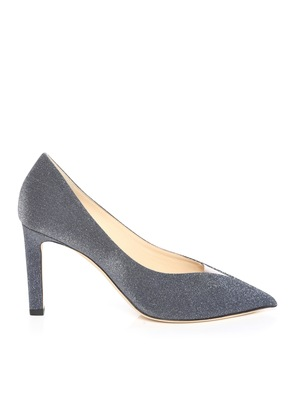 BAKER 85 Stone Blue Fine Glitter Fabric Pointed Toe Pumps with Plexi Insert